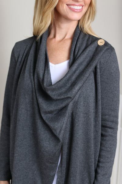 Soft Open Cardigan with Button (2 Colors)