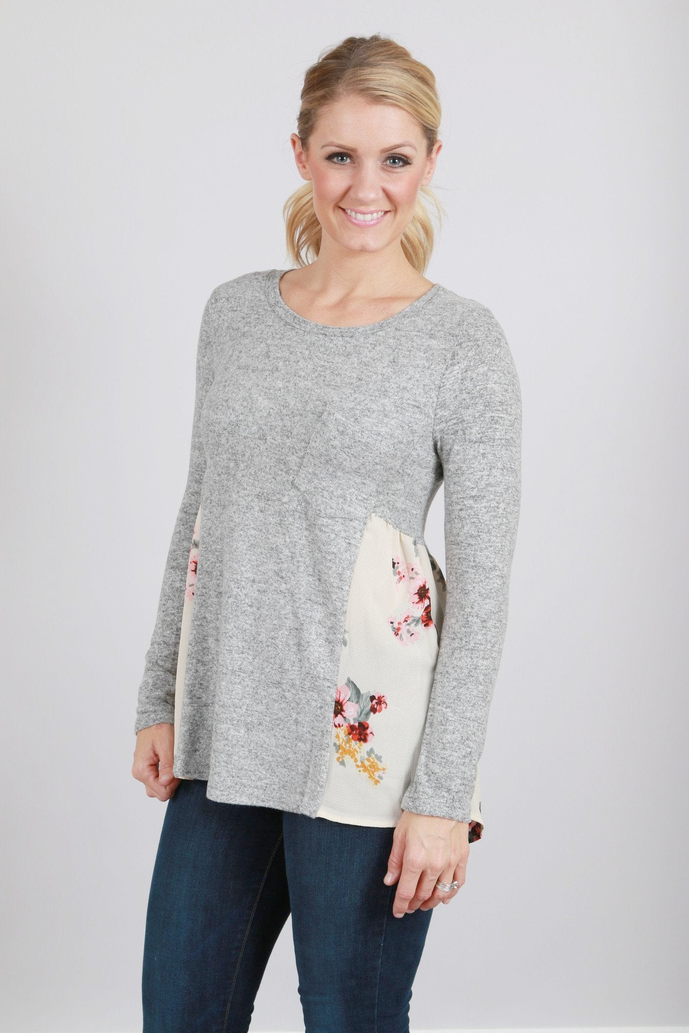 Grey sweater with Floral detail