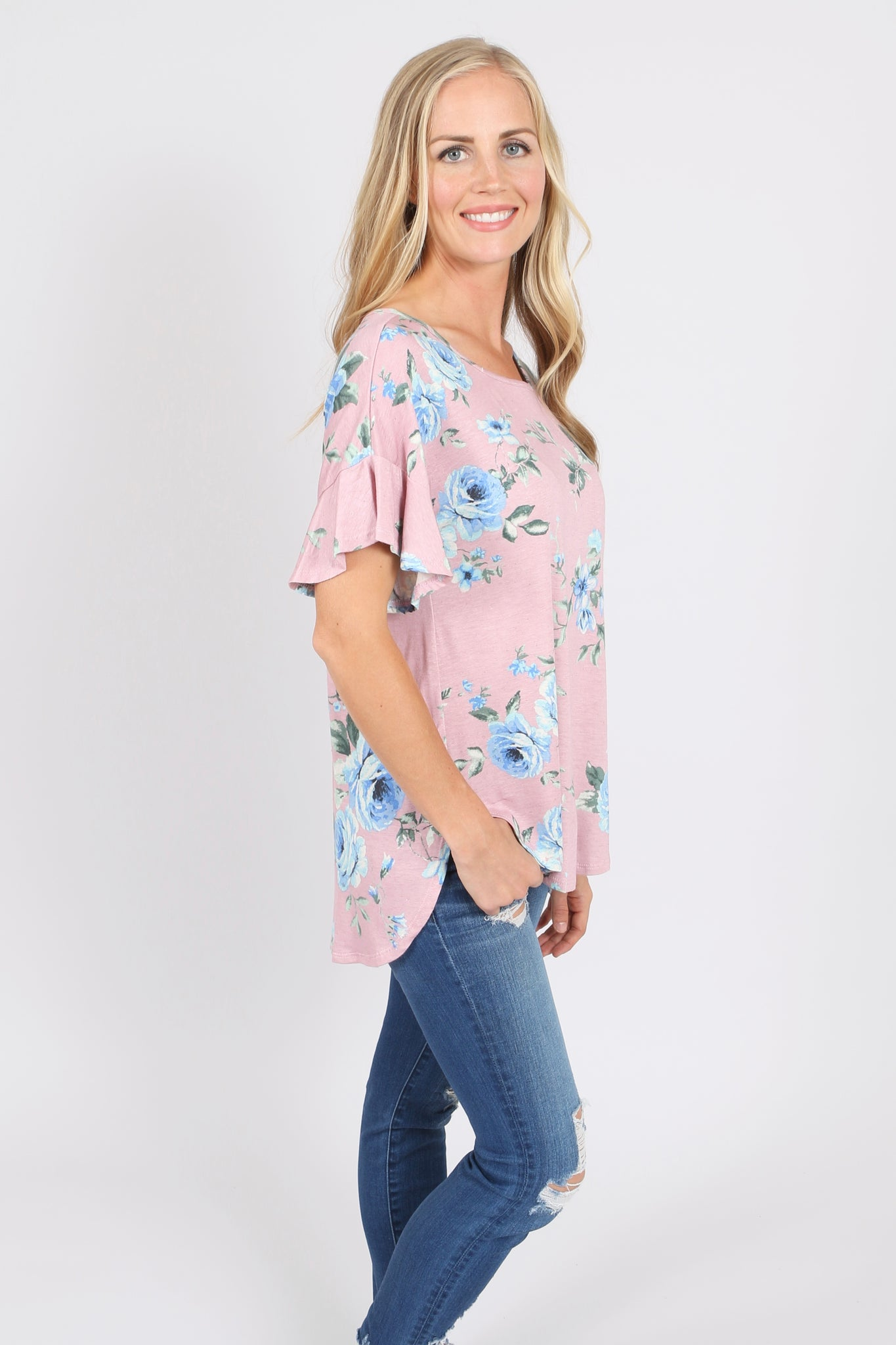 Ruffle Sleeve Top (3 Prints)