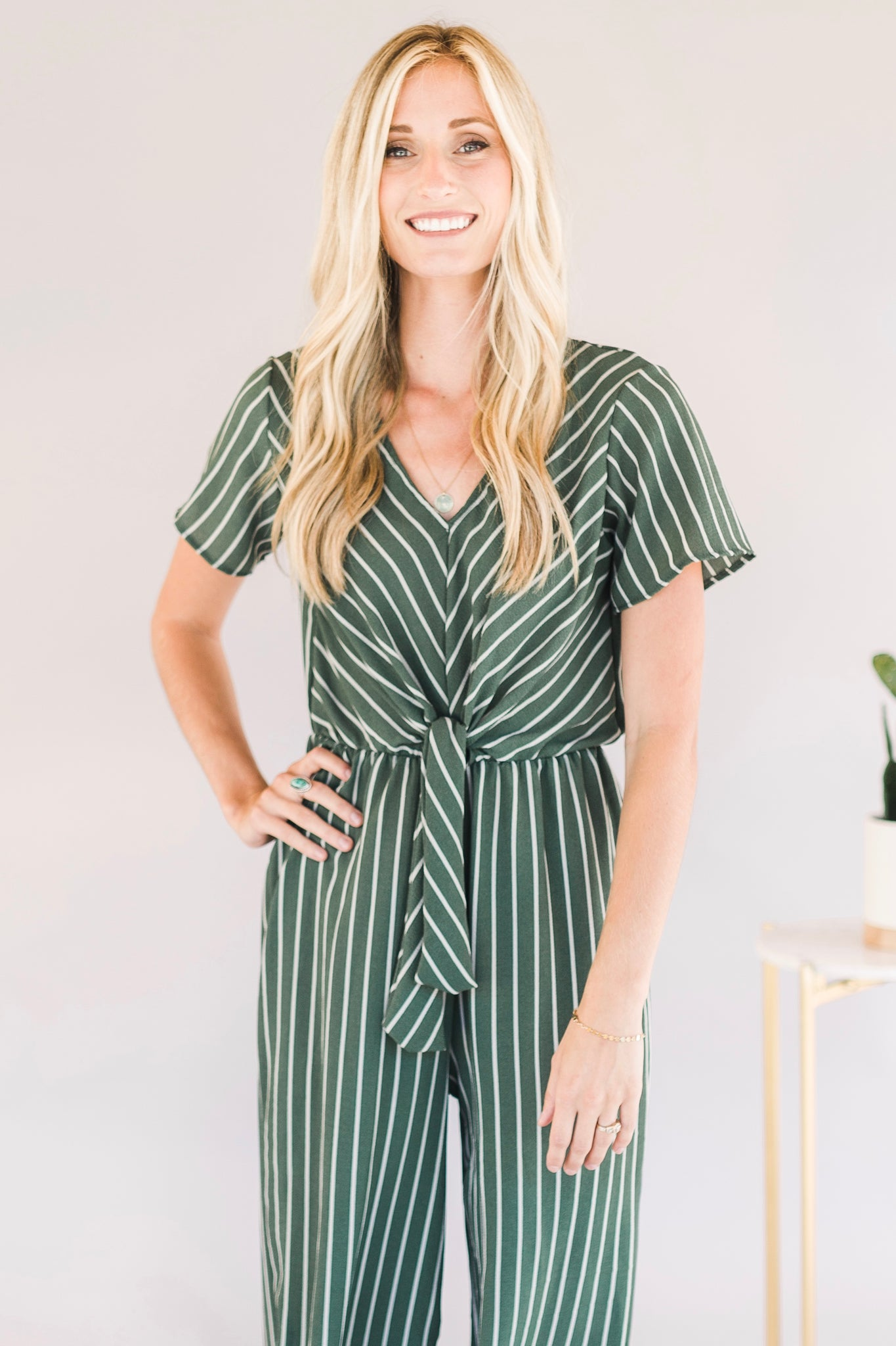 Knotted Stripped Romper (Green)