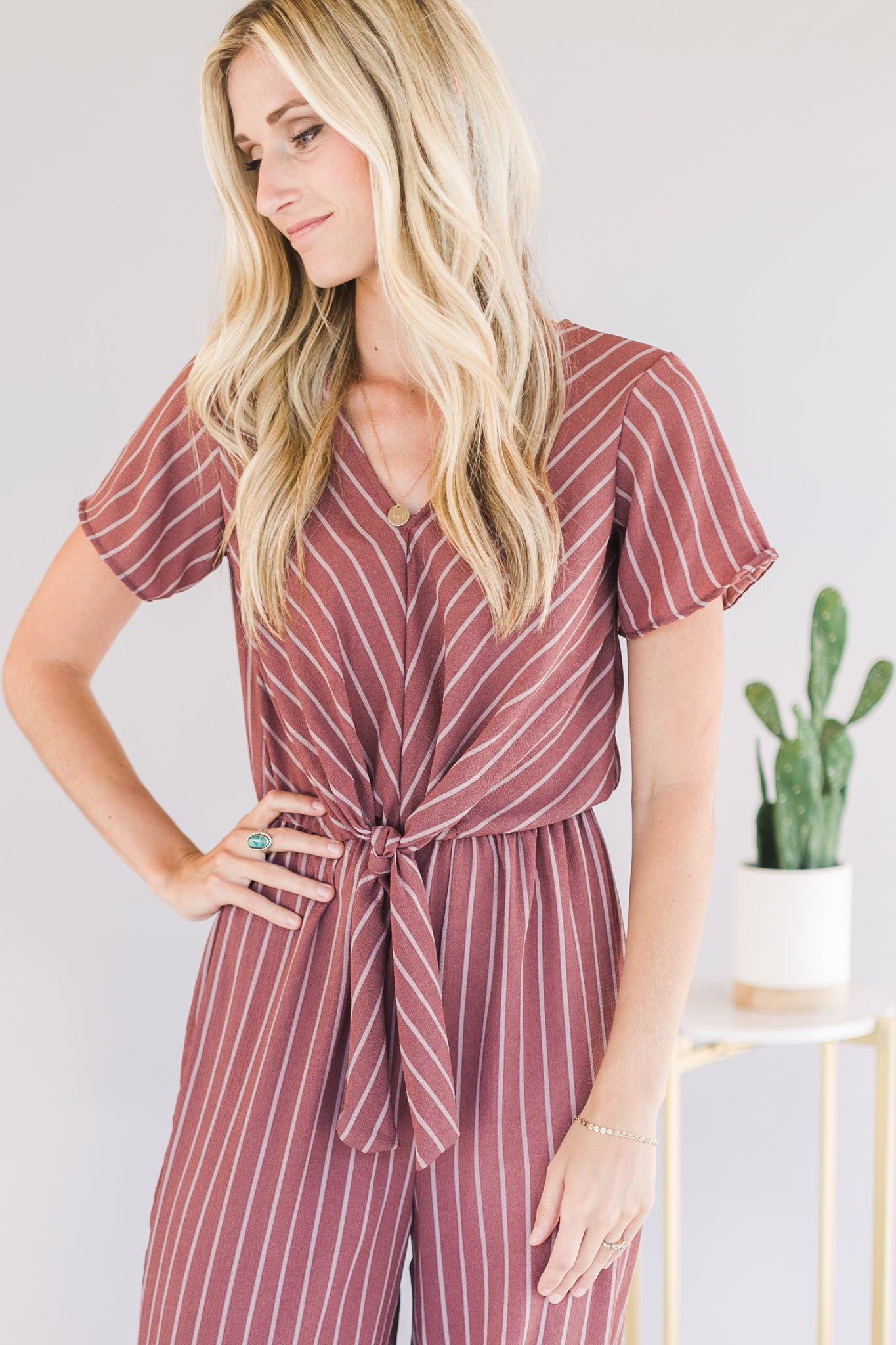 Knotted Stripped Romper (Mauve)