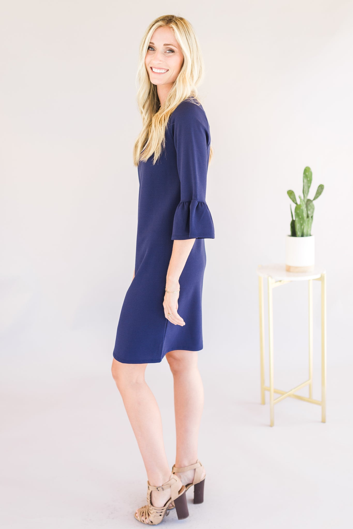 Navy Bell Sleeve Dress