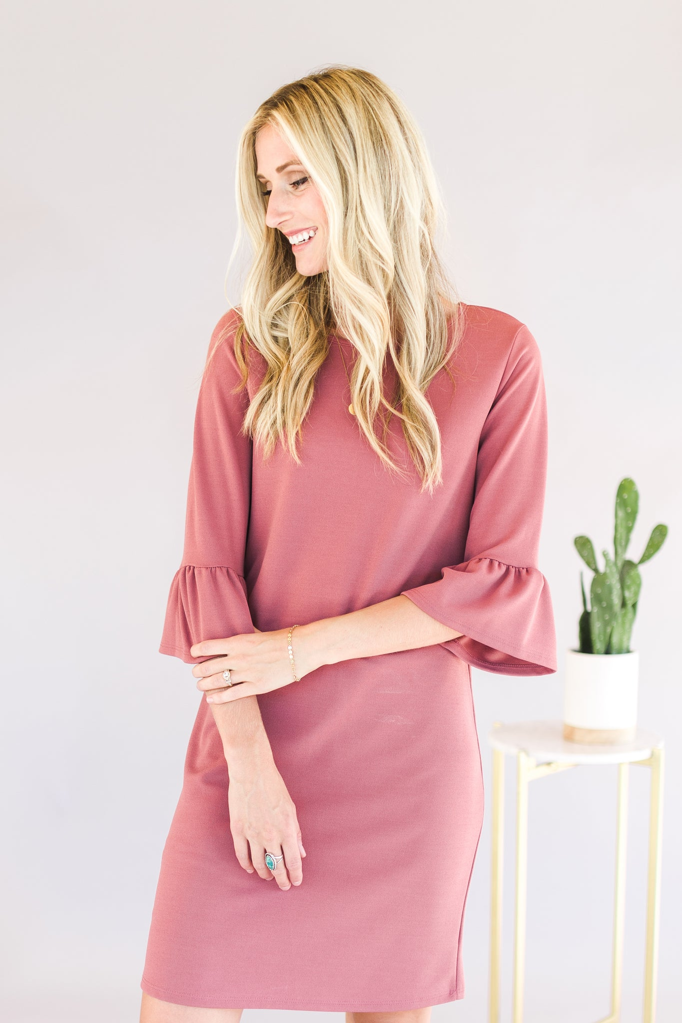 Mauve Bell Sleeve Dress