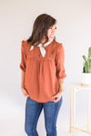 Woven Top with Ruffles (3 Colors)