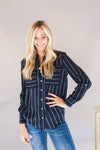 Long Sleeve Striped blouse (Navy)