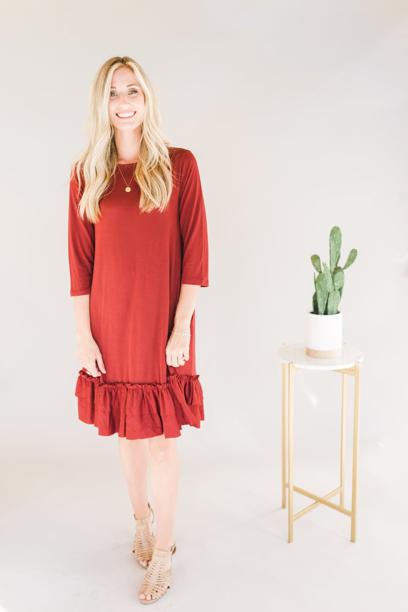 3/4 Sleeve Ruffle Hem Dress