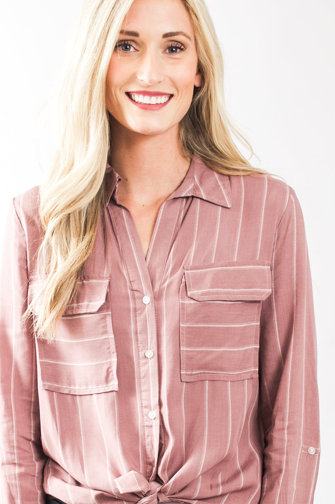 Long Sleeve Striped blouse (Mauve)