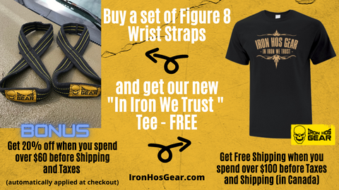 Figure 8 Wrist Straps with FREE T - In Iron we Trust - Tee
