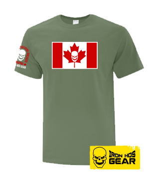 Iron Hos Canadian Flag - Ladies T Shirt Military  Green