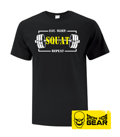 Eat Sleep Squat Repeat LADIES Black Tee from Iron Hos Gear