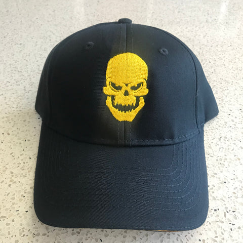 Iron Hos Adjustable  Black Hat - YELLOW  Skull