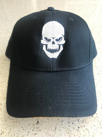 Iron Hos Adjustable  Black Hat - WHITE  Skull