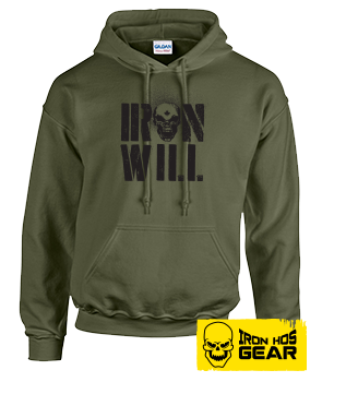 Hardcore Iron Hos Gear - IRON WILL - Military Green Hoodie