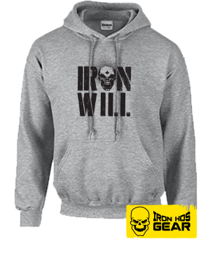 Hardcore Iron Hos Gear - IRON WILL -Grey Hoodie