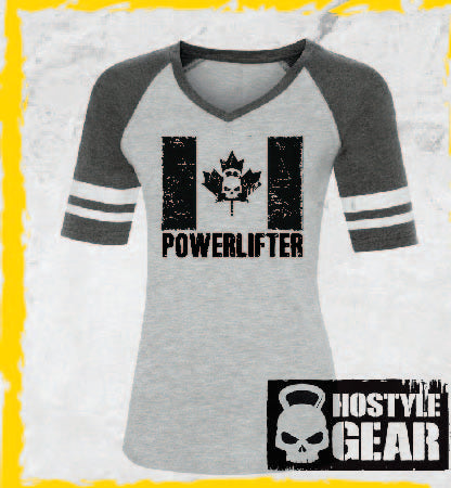 Canadian Powerlifter Ladies Baseball Tee Hostyle Gear