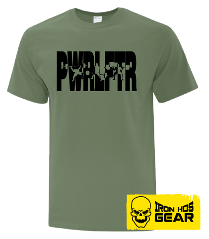 Canadian Powerlifter-  Full Power -  Men's Military Green T shirt - Iron Hos Gear