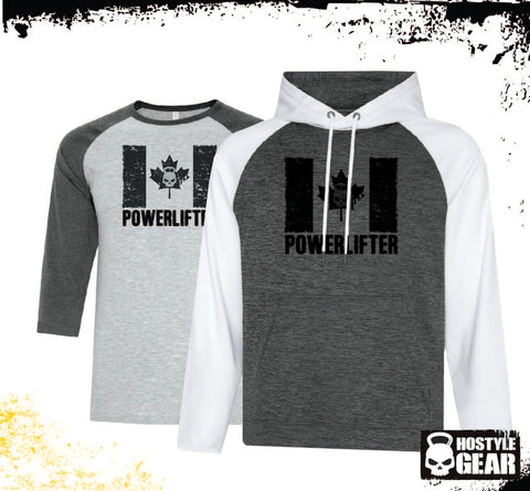 Hostyle Gear Canadian Powerlifter Hoodie with Free Baseball Tee 2 tone White Sleeves