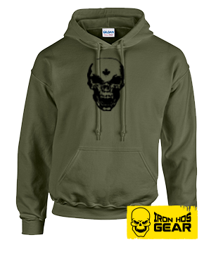Hardcore Iron Hos Gear - SKULL - Military Green Hoodie