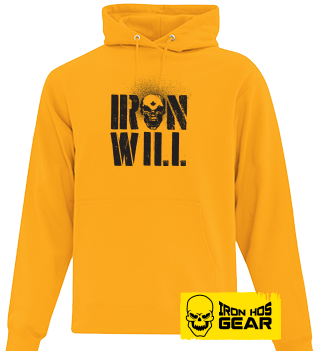 Hardcore Iron Hos Gear - IRON WILL -Yellow Hoodie