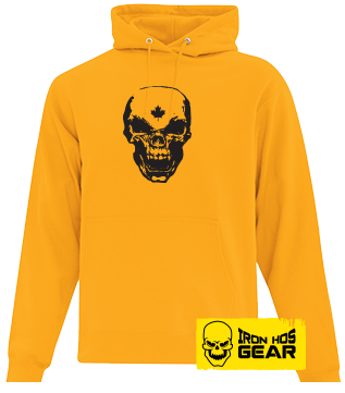 Hardcore Iron Hos Gear - SKULL - Yellow Hoodie