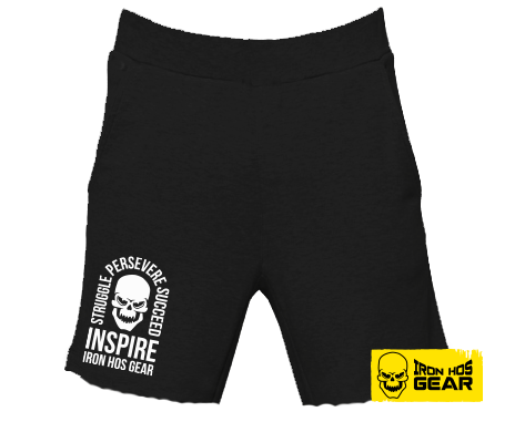 Iron Hos Inspire Shorts -Fleece Black - White Print