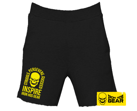 Iron Hos Inspire Shorts -Fleece Black - Yellow Print