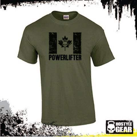 Canadian Powerlifter T Shirt Men's Military Green