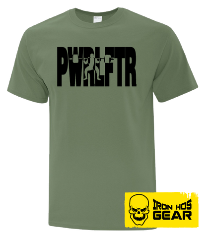 Canadian Powerlifter-  The Squatter -  Men's Military Green T shirt - Iron Hos Gear