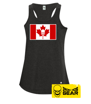 Iron Hos Canadian Flag - Ladies T Tank Top Black / Red / White
