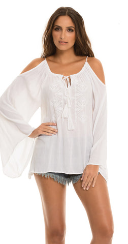 Draw String Top Cold Shoulder White