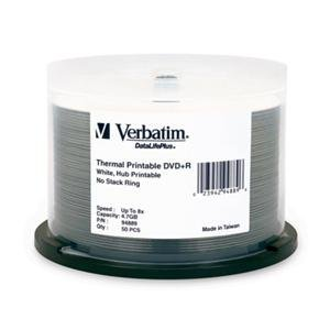 Verbatim DVD-R White Thermal Hub Printable - 50 Pack