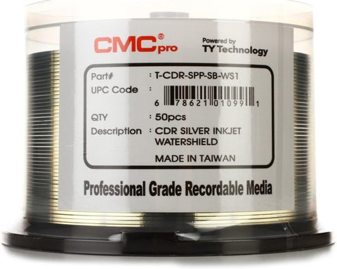 CMC Pro CD-R Silver Inkjet Water Shield - 50 Pack