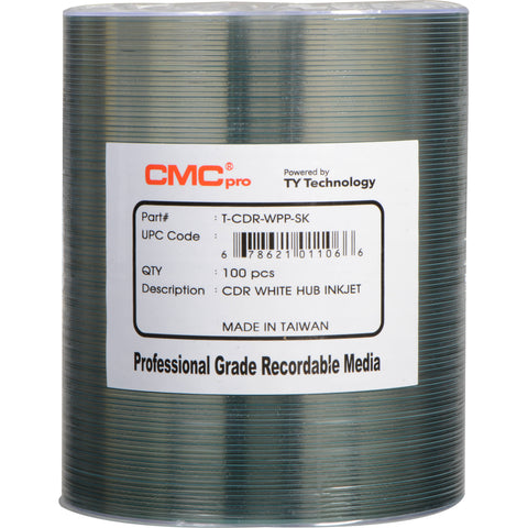 CMC Pro CD-R White Inkjet Hub Printable - 100 Pack