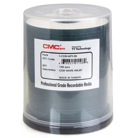 CMC Pro CD-R White Inkjet -  100 Pack