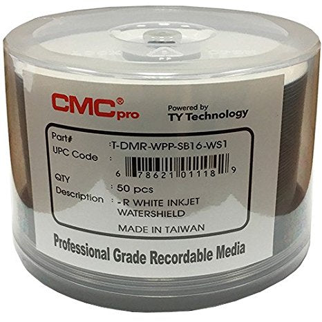 CMC Pro DVD-R 4.7 GB White Inket Hub Printable Water Shield - 50 Pack