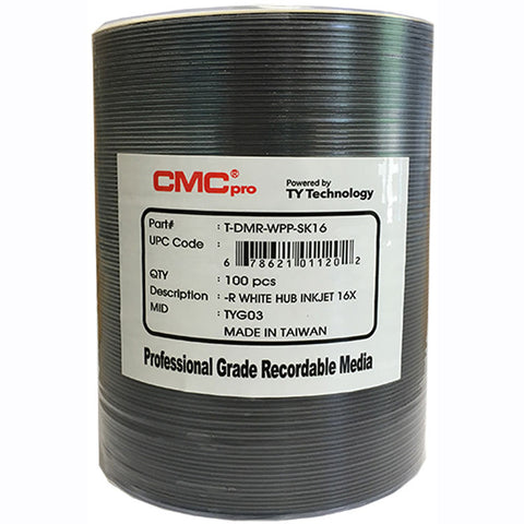 CMC Pro DVD-R 4.7 GB White Inkjet Hub Printable - 100 Pack