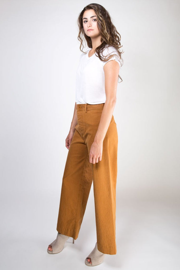 Ryan High Waisted Wide Leg Pants - Tobacco