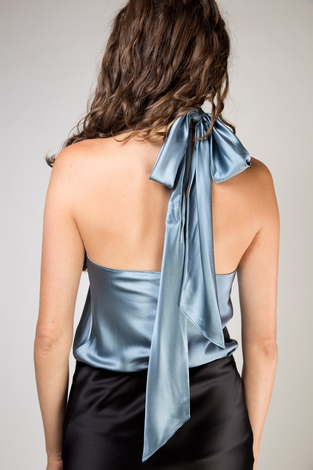 Julia Tie Back Halter Top - Bluegrey