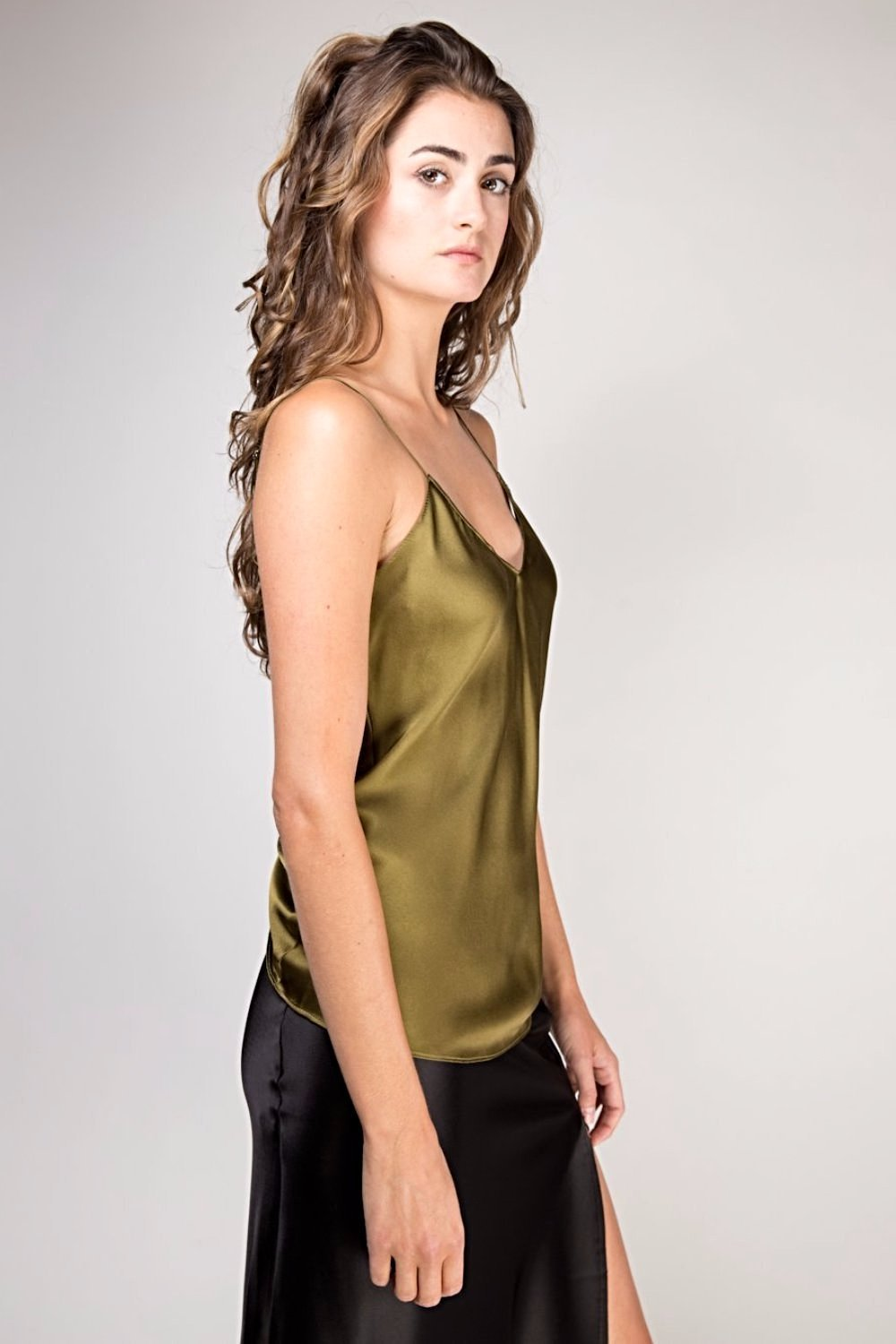 Fiora Silk Cami Top - Army