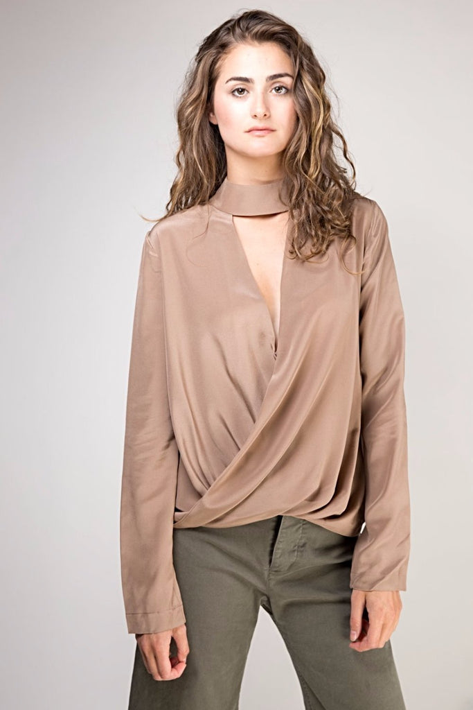 Crepe De Chine Silk Cross Front Top