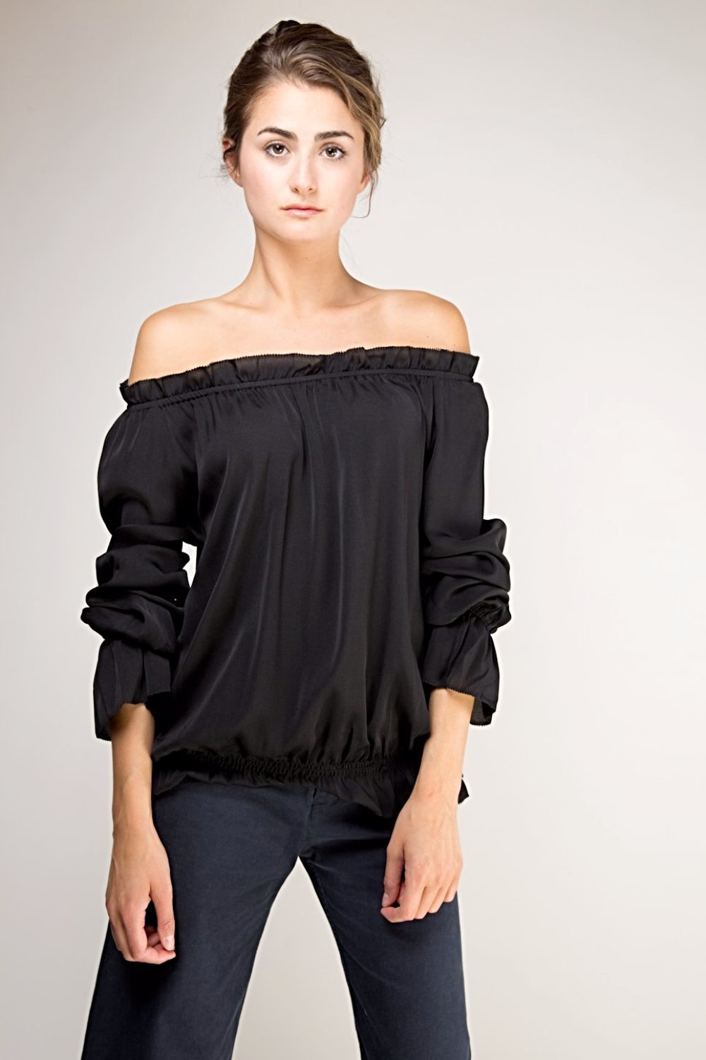 Faye Off The Shoulder Blouse  -  Black