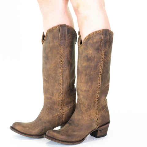 Lane Plain Jane Boot in Brown Leather Tall Boots Braided Riding Motorcycle Round Toe Whiskey Tan Western Fall