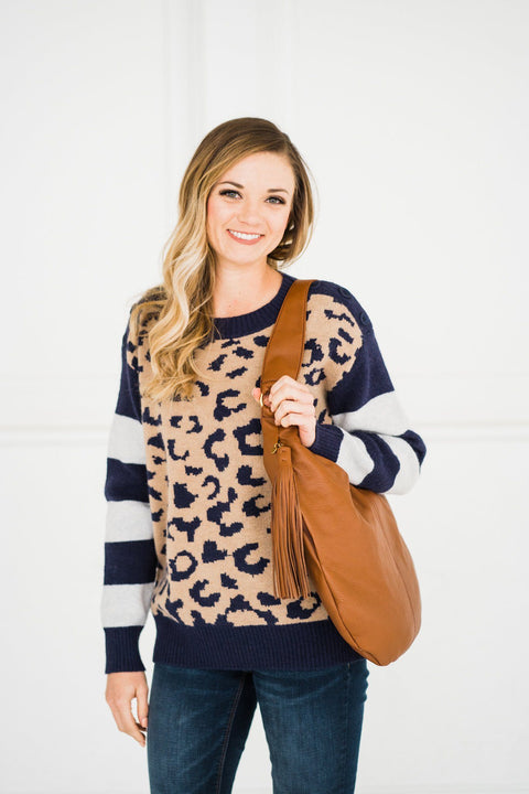 Leopard Sweater in Navy with Striped Sleeves