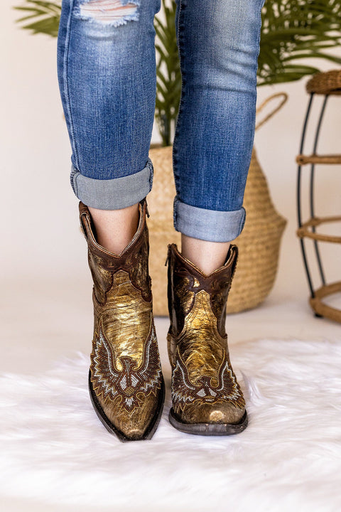 Old Gringo Eagle Beaded Booties in Gold