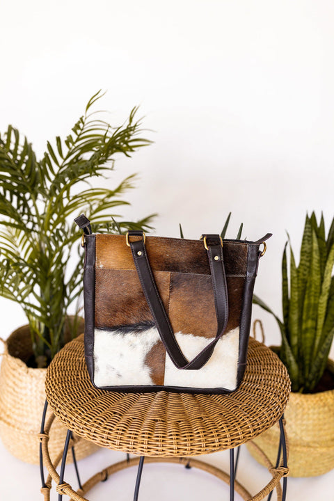 Fort Worth Cowhide Bag In Brown/White