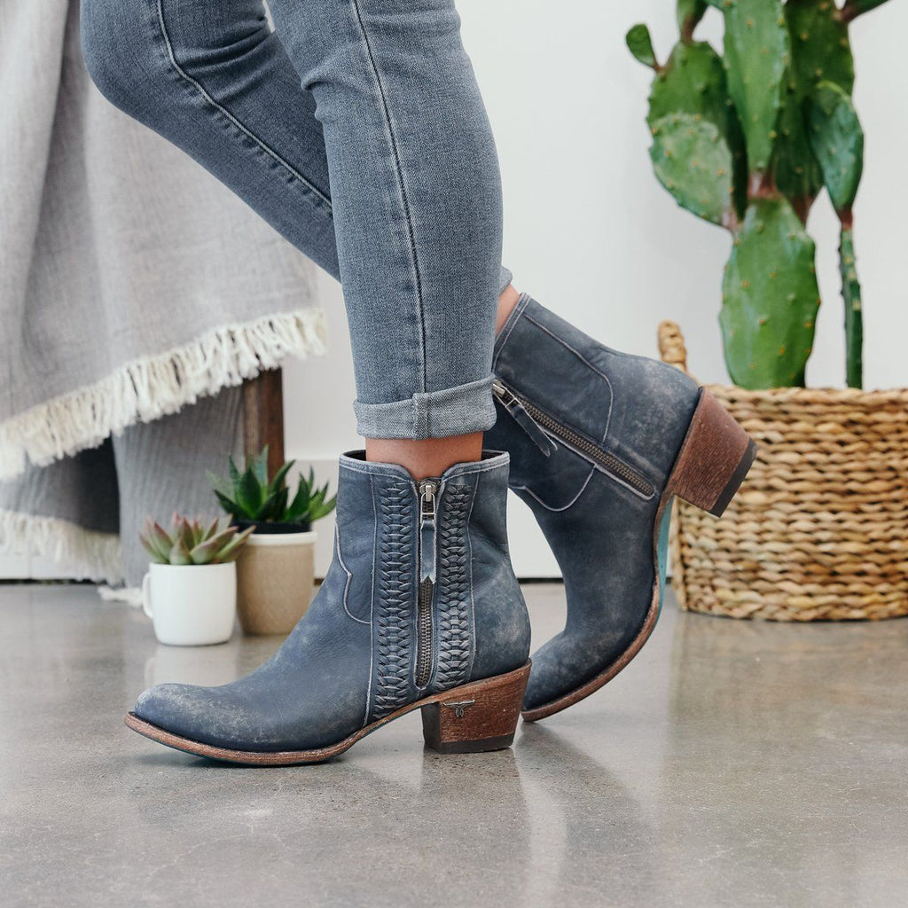Lane Layten Booties in Distressed Midnight Blue - Rural Haze