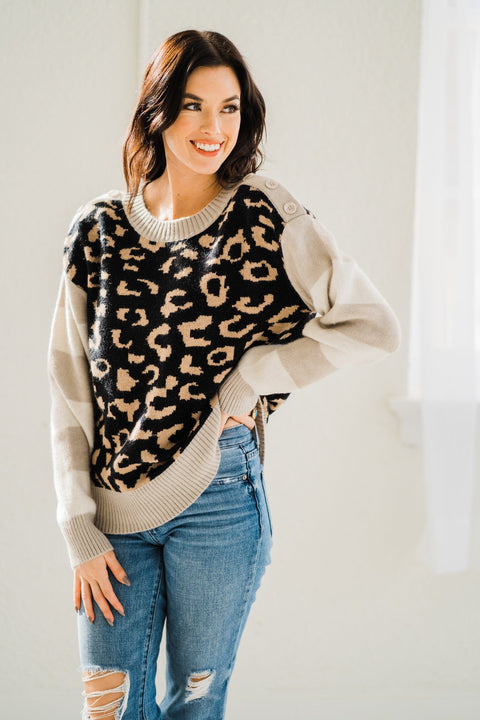 Leopard Sweater with Striped Sleeves