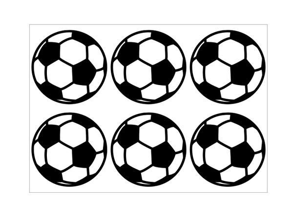 9cm self adhesive football stickers on an A4 sheet of stickers.