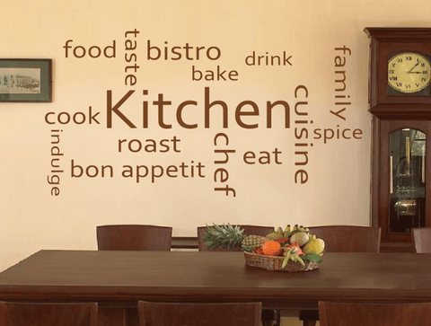 Kitchen Words Collage wall stickers, collection of kitchen words ...