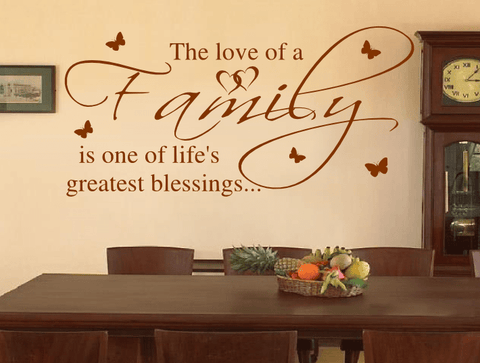 Love Of A Family Life\'s Greatest Blessing Wall Stickers, art quotes